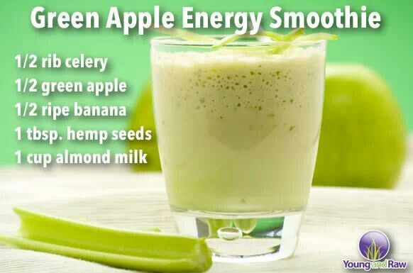 Green apple energy smoothie | An apple a day | Pinterest