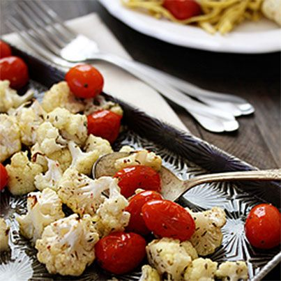 Roasted Cauliflower and Tomatoes | Healthy Food | Pinterest