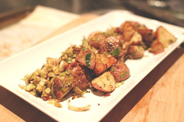 Roasted Potatoes with brussel sprouts and bacon