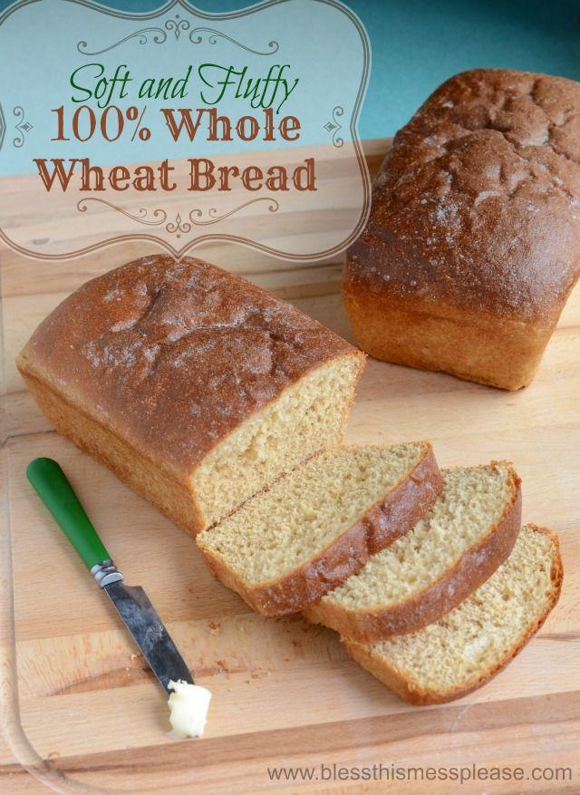 Honey Whole Wheat Bread Recipe (I used a pretty even mixture of white ...
