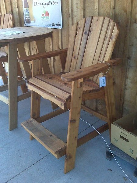 Tall adirondack chair woodworking projects pinterest for Bar height chairs design
