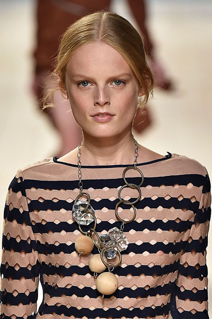 Wood Jewels Natural wood made a steady showing this season in everything from big pine spheres to cedar-looking drop earrings. The kitsch trend has manifested itself in these crafty baubles for 2015. Nina Ricci