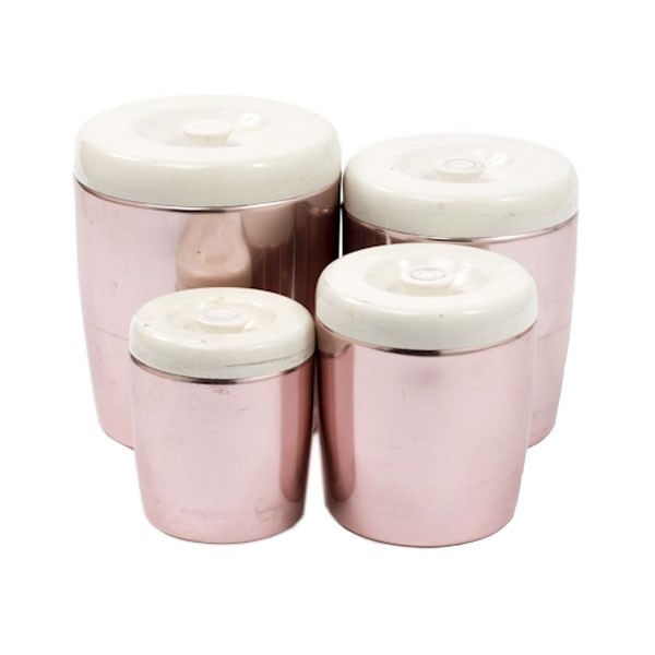 vintage pink kitchen canisters anodized aluminum pinterest