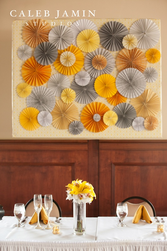 Yellow + Grey -  head table decor