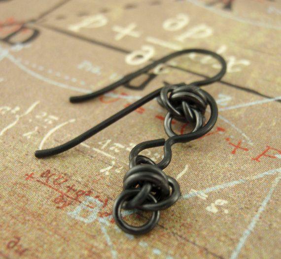 Hypoallergenic Niobium Earrings Little Twists in Black by unkamengifts, $ 12.00