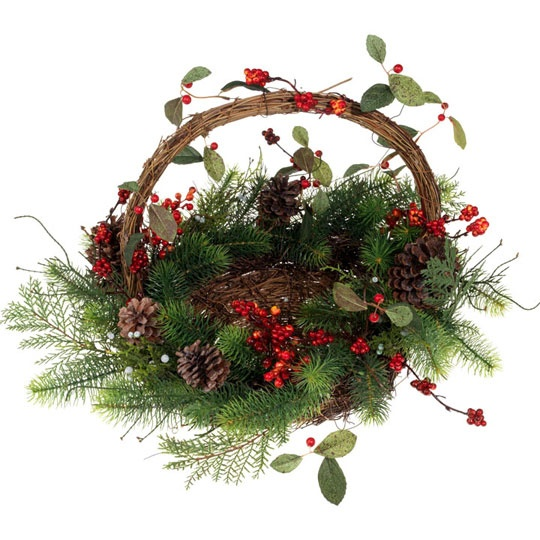 Christmas basket centerpiece or winter decor