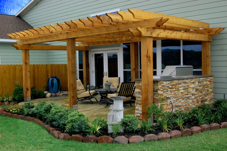 Backyard Grill Houston :  Stained Patio, Pergola, Custom Stone Outdoor BBQ, Landscaping, Houston