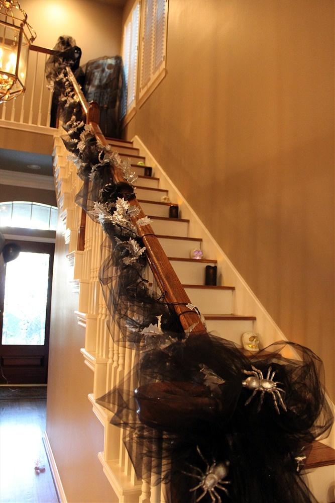 halloween stair case decoration.