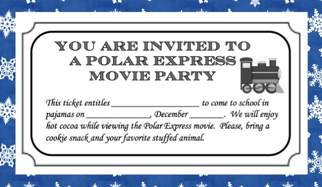 Polar Express movie party ticket Movie nights Pinterest
