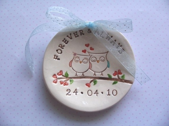 Ring bearer bowl dish who is in love owl couple for Cute pottery designs