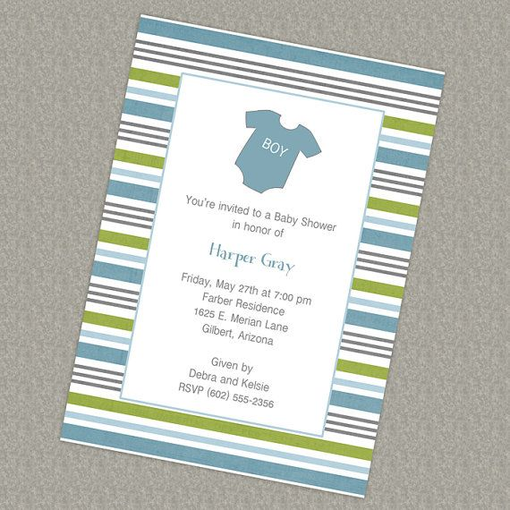 Baby onesie shower invitation, blue and green printable, digital file: pinterest.com/pin/117375134007859537