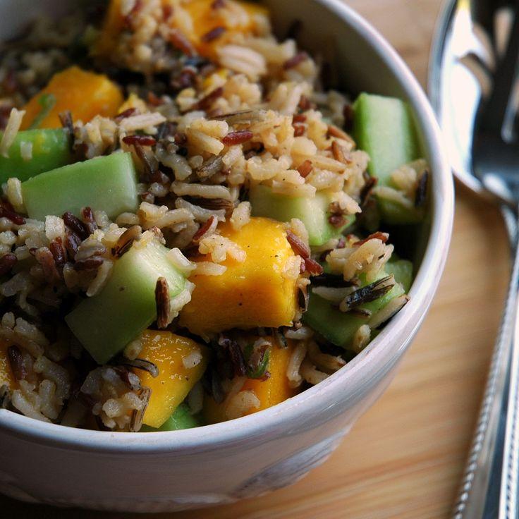 Mango-Cucumber Rice Salad with Lime & Scallion Vinaigrette