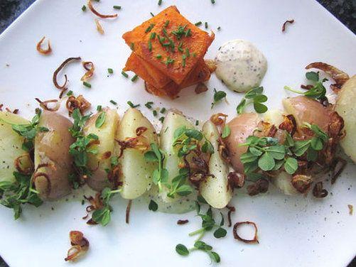 "Potato ""Salad"" with Crispy Shallots, Pea Shoots & Whole Grain M..."