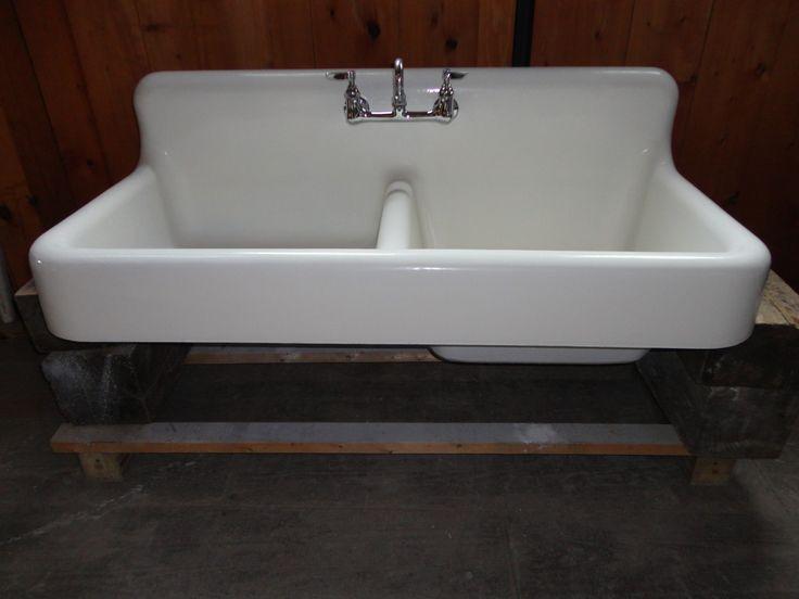 Antique Cast Iron Farm Farmhouse Kitchen Sink W Apron Double Basin Vintage 1928