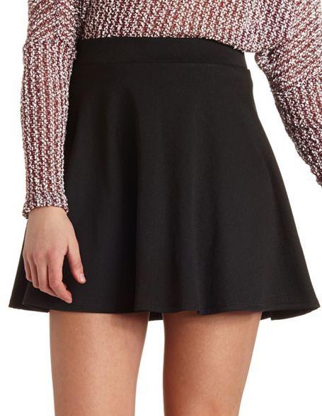 Textured Skater Skirt: Charlotte Russe