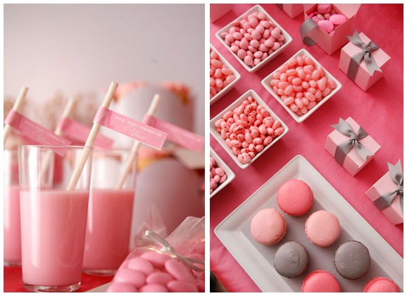 pink & grey macarons | Baby Shower Ideas | Pinterest