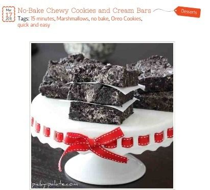 No Bake Chewy Cookies And Cream Bars. (: #Food #Drink #Trusper #Tip