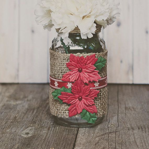 Burlap christmas mason jar decor centerpiece vase
