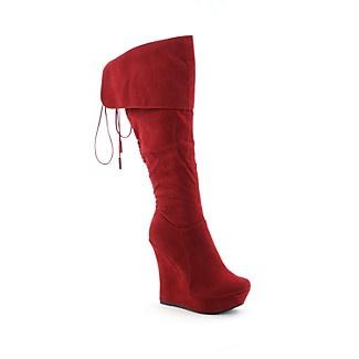 Red wedge heel boot from Shiek Shoes | Wedge heel boots | Pinterest