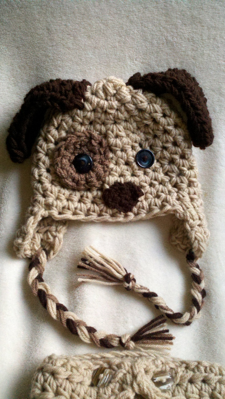 Crochet Dog Earflap Hat Pattern : TODAY 6-12 Mos Puppy Dog Hat - Earflap hat - Baby Photo ...
