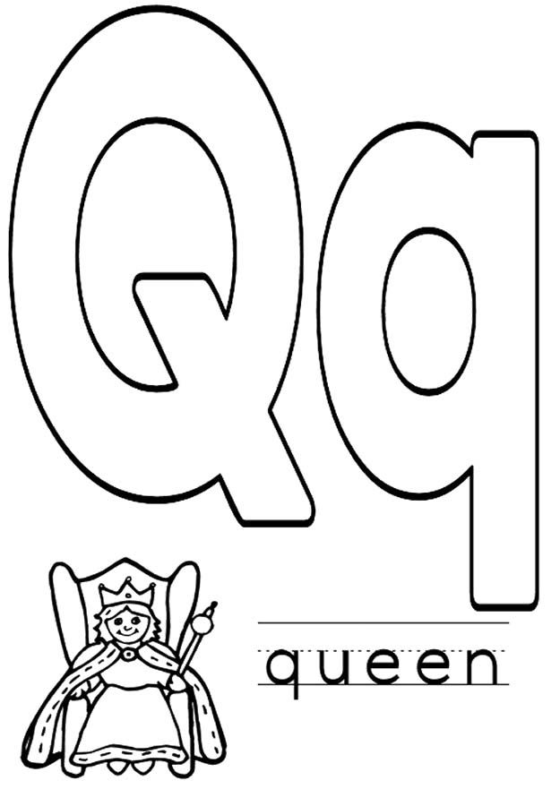 q is for queen coloring pages - photo #7