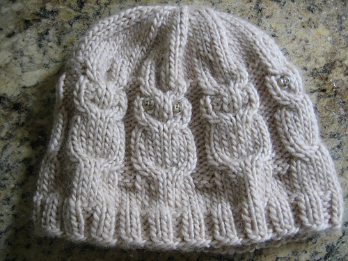 Adult owl hat knitting Pinterest