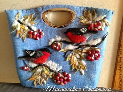 Bullfinches winter bullfinches rowan leaves winter bag wool