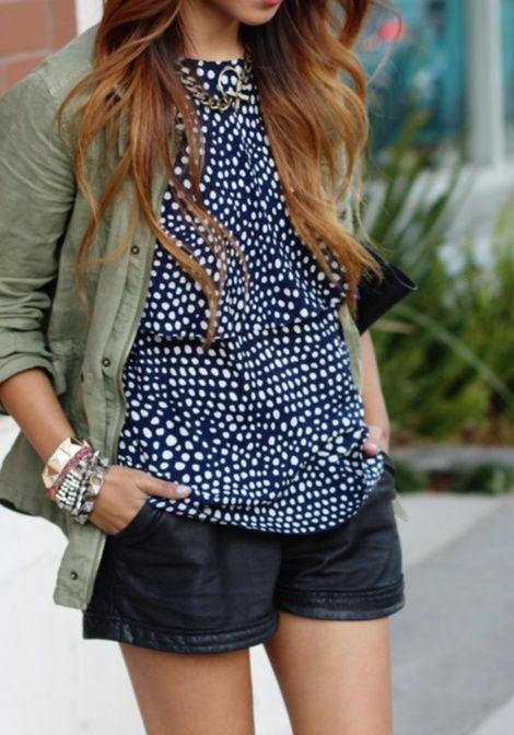 patterned blouse + short shorts + army jacket
