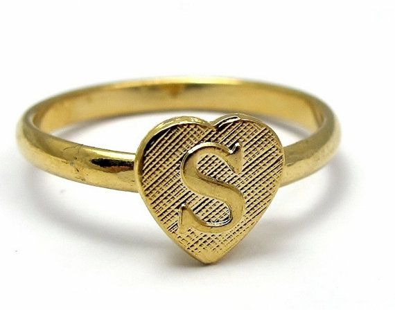 B Letter In Gold Ring Vintage Gold Plated Ad...