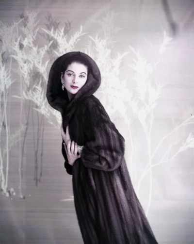 Carmen Dell'Orefice in a  mink coat, photographed by Virginia Thoren, 1957.Vintage fur. 1950's fashion