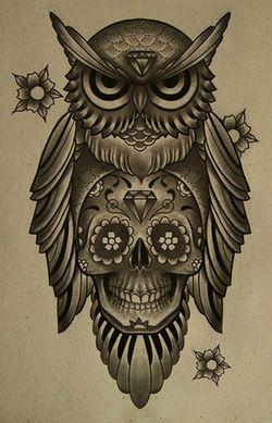 Owl And Candy Skull Tattoo Concept Inspiring Tattoos Pinterest