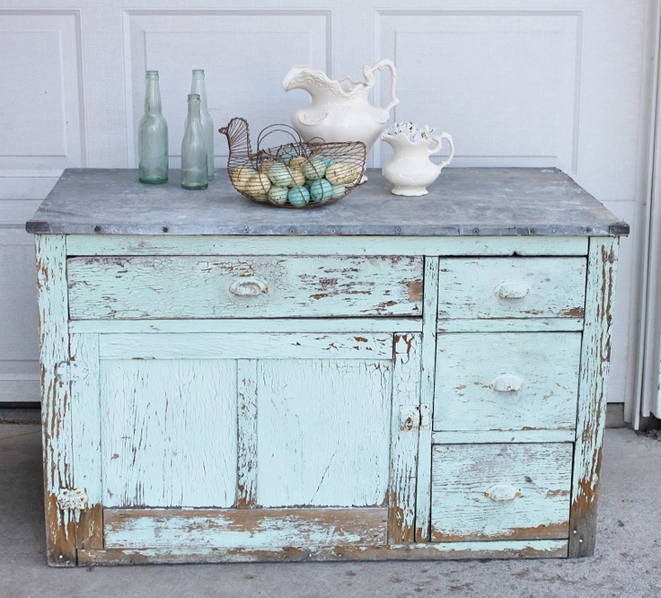 Handmade DIY Shabby Chic Entry Table Buffet In Chippy Teal Green Paint