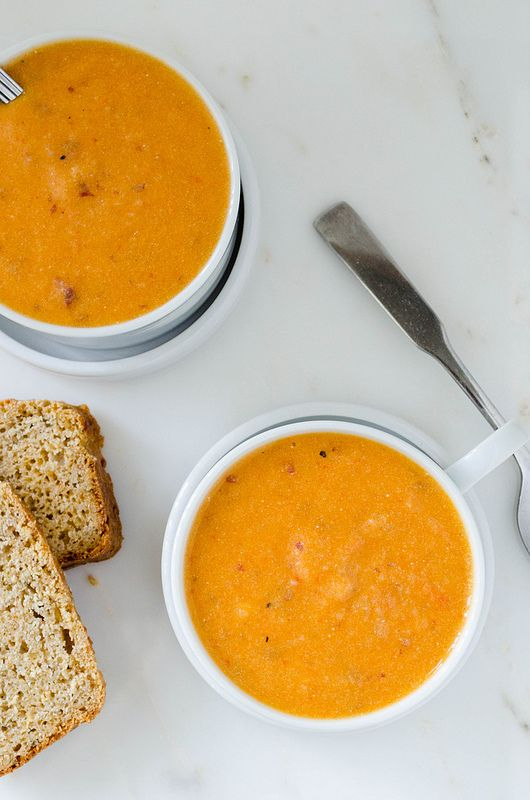 Roasted Red Pepper Potato Soup - I only had two peppers to roast, next ...