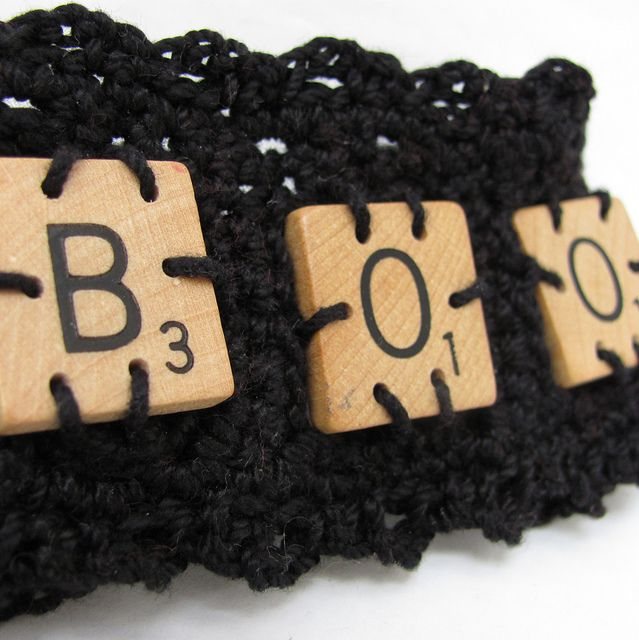 scrabble tile cuff – boo!
