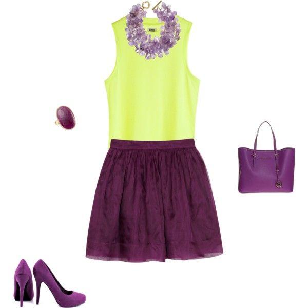 """Bright Spring - yellowgreen/purple inspiration"" by adriana-cizikova on Polyvore"