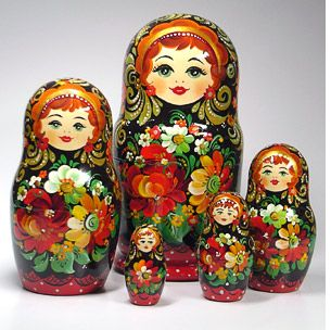 Redheaded stacking dolls.