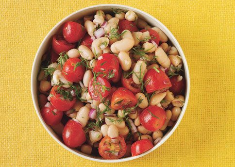 White Bean and Grape Tomato Salad. I substitute the dill with italian ...
