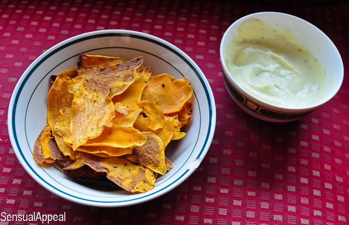 Baked Sweet Potato Chips with Yogurt Mustard Sauce | Sensual Appeal