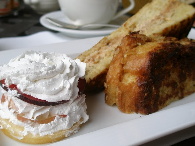French toast stuffed with pecans, goat cheese, caramel sauce...add ...