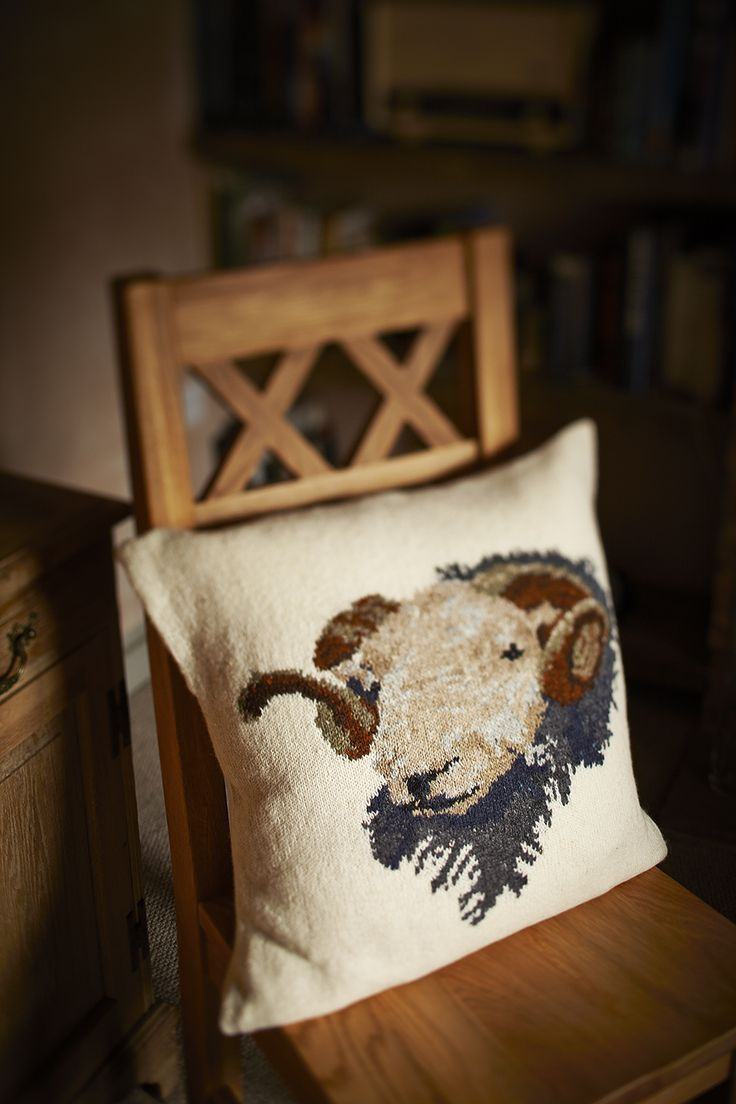 Free pattern for Herdwick Sheep Cushion by Marie Wallin, knit in Rowan Fine Tweed