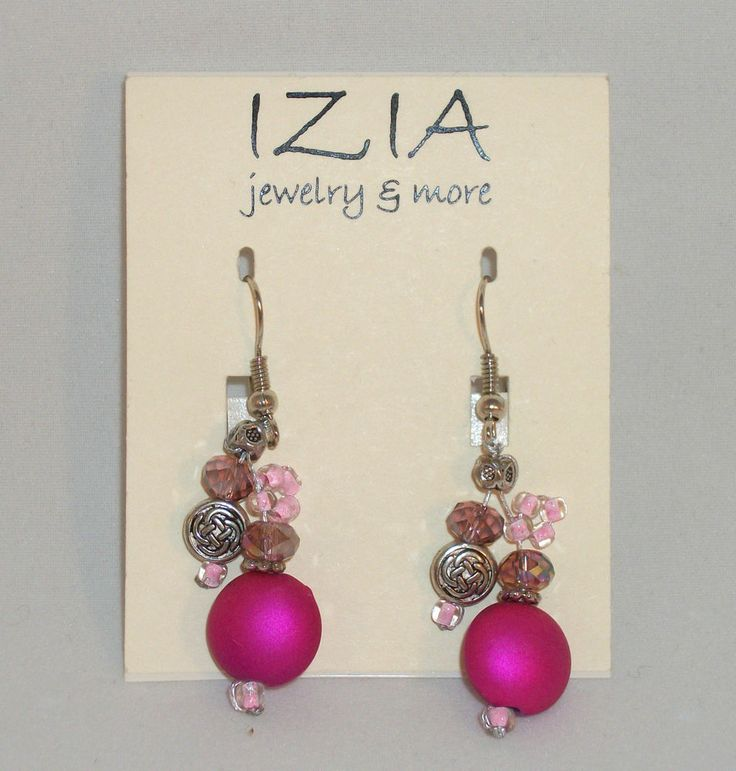 IZIA Pink & Silver Dangle Earrings. New In Package! $12.95 obo (Free S&H)