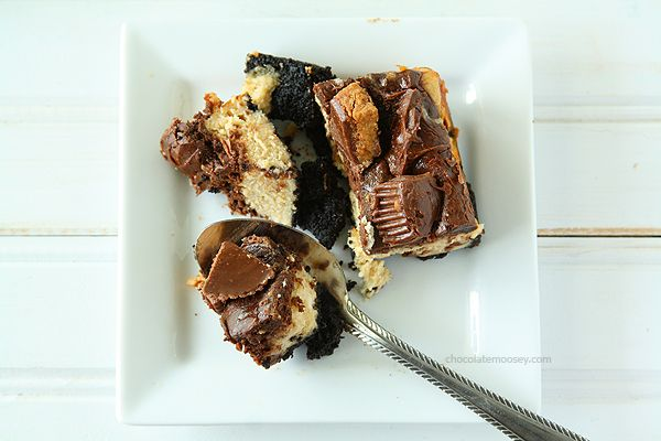 Chocolate Peanut Butter Cup Cheesecake Squares | www.chocolatemoosey ...