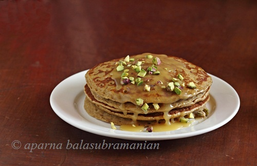 Pumpkin Pancakes with Honey Butter, Pistachios, and Fig Jam