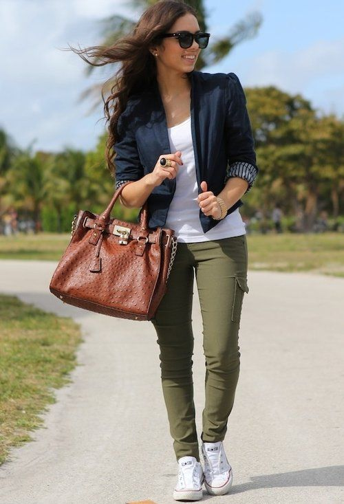 Navy blazer, white tank, olive pants, white chucks, Ray Bans, and brown bag.