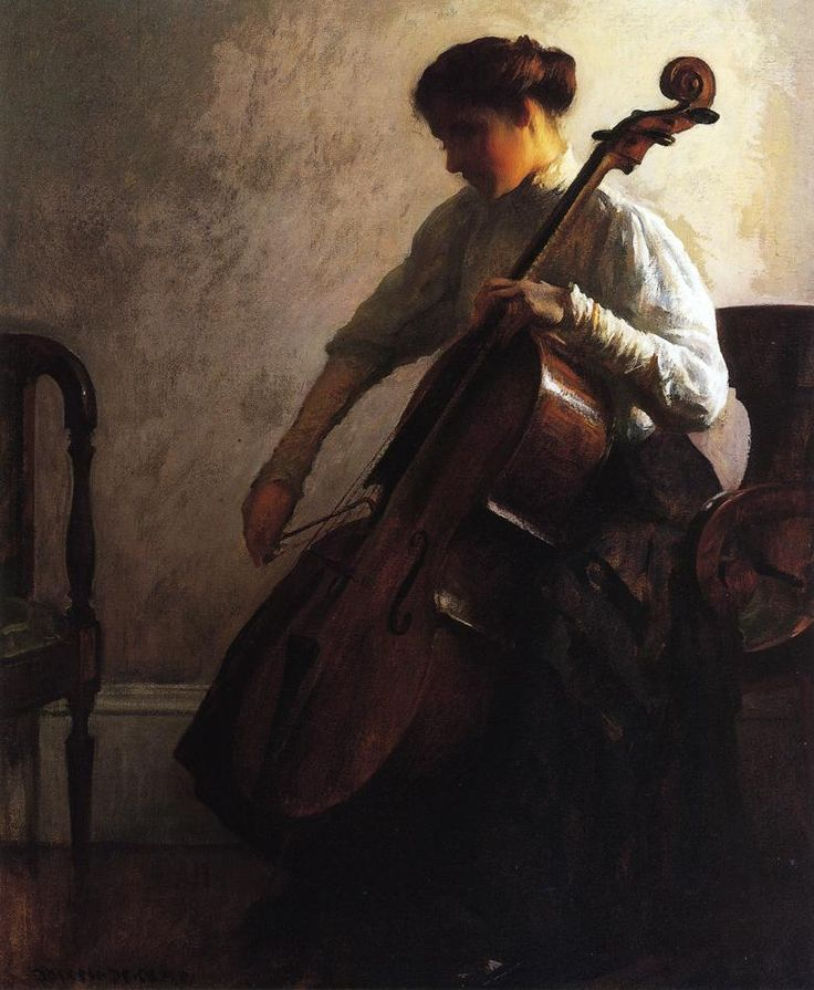 Joseph DeCamp - The Cellist, 1908, oil on canvas