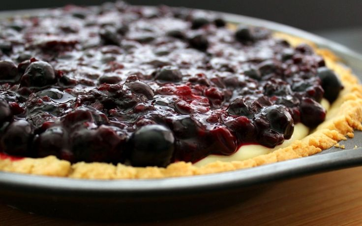 Blueberry-Cream Cheese Pie with Shortbread Crust