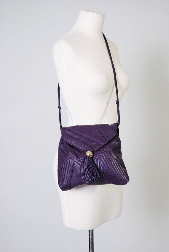 ... Tassle Purse 80s Supple Violet Leather Handbag Purple Crossbody Bag