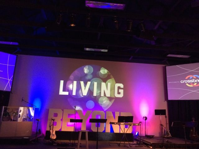Stage and backdrop lighting at Crossbridge Church