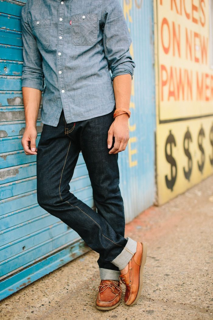 Pair a light blue shirt with your favorite blue jeans, light brown shoes (or boat shoes), brings you up to a good to go look.