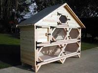 7ft Double Deluxe Palace Rabbit Hutches in Log Lap